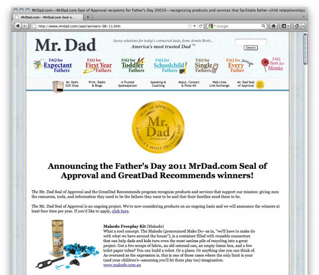 Mr.Dadが、数多くある玩具の中からメイクドゥを父の日オススメグッズに選定